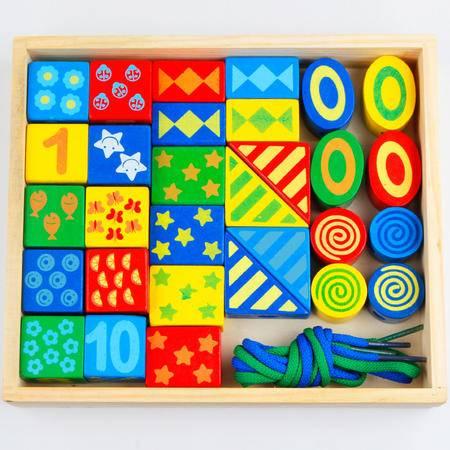 儿童益智玩具RB58木盒装30粒大串珠积木二合一MGWJ