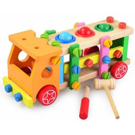 儿童拆装螺母玩具木制玩具敲球螺丝车JF24螺丝车MGWJ