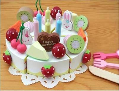 草莓MOMO兔子生日蛋糕RB14儿童木制切切看玩具MGWJ