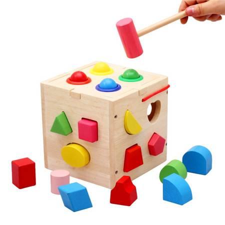十七孔敲球智力盒RB57优质橡胶木制形状配对盒MGWJ