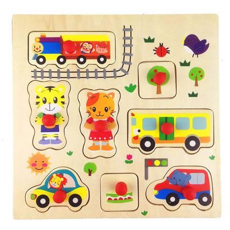 木制玩具小Q虎手抓板嵌板拼图RB64儿童卡通早教益智MGWJ
