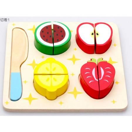 木制切切看水果蔬菜点心切切看KB05儿童过家家玩具MGWJ