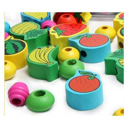 木制玩具幼得乐水果配对串珠早教玩具益智玩具JF28MGWJ
