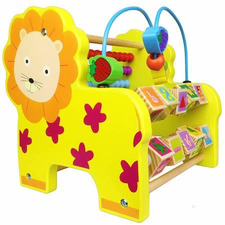 动物大象狮子多功能翻板绕珠计算架QZM09木制玩具MGWJ