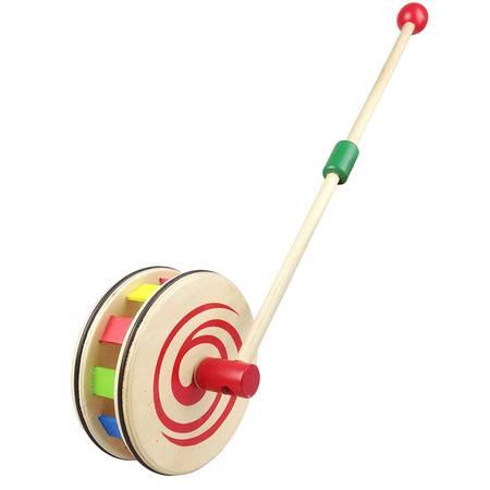 木质制单杆彩虹圆盘手推车SSJ02幼儿童宝宝助步车学步车玩具MGWJ