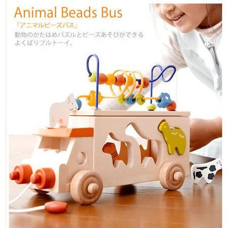 动物形状巴士动物拖车RB65拖车积木绕珠绕珠玩具MGWJ