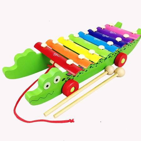 鳄鱼拖拉手敲琴木制八音琴QZM08儿童音乐启蒙乐器早教玩具MGWJ