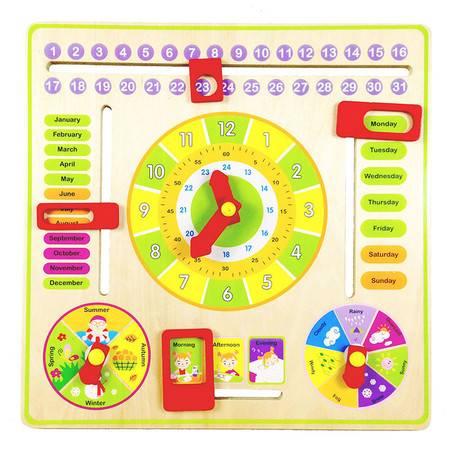 木制多功能数字时钟日历季节天气认知学习早教益智儿童玩具MGWJ