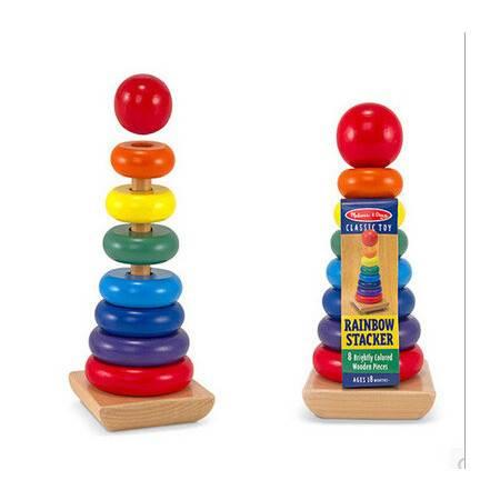 单大号彩虹套柱套塔RB33彩虹圈宝宝颜色分辨木制玩具MGWJ