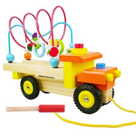 木制绕珠拆装玩具水果绕珠拆装拖拉车LCM07儿童动手益智玩具MGWJ