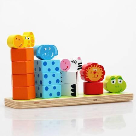 儿童积木动物叠叠乐数数看KB04层层高木制早教益智力宝宝玩具MGWJ