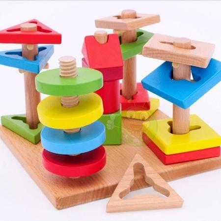 早教益智玩具蒙氏榉木五套柱多彩智慧盘积木RB几何形状套柱配对MGWJ