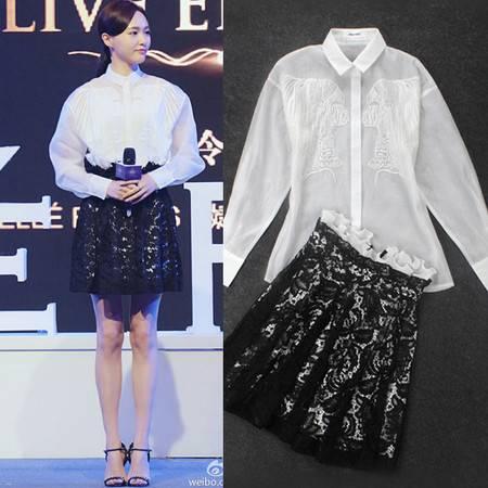 2016夏季两件套白色刺绣衬衫+黑色蕾丝短裙1399SMNZ