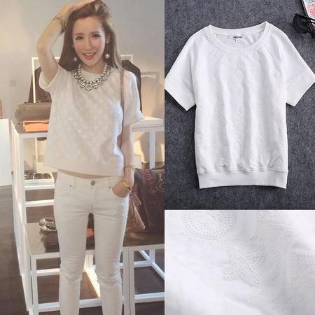 6月7日白色浮雕白色亮片图案短袖上衣T恤1244SMNZ