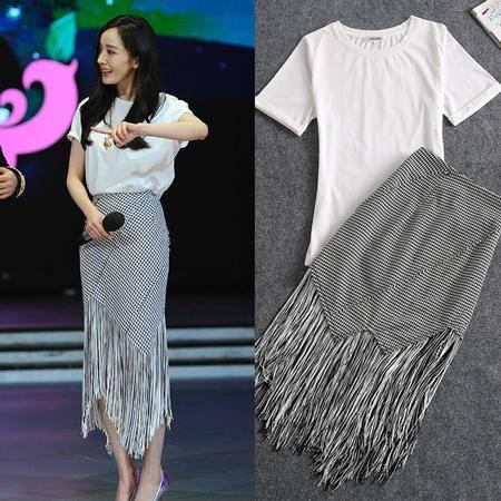 2016新款两件套  千鸟格流苏裙 纯棉白色短袖1261SMNZ