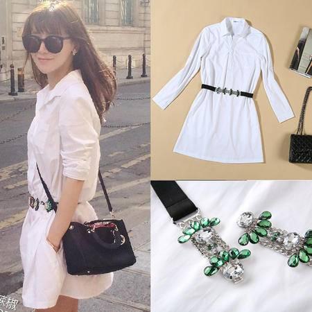 新款白色女式衬衫裙女长袖 纯棉白衬衫女式长袖1160SMNZ