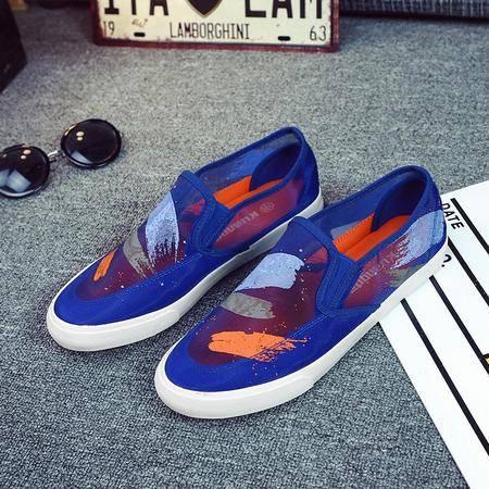 2016新款韩版板鞋男士休闲鞋潮流男式网面鞋子透气帆布鞋网鞋KDNX