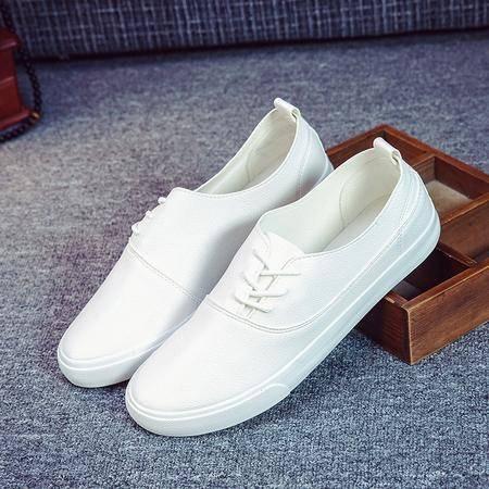 新款春季男士帆布鞋PU皮休闲鞋子低帮平底板鞋韩版潮流KDNX