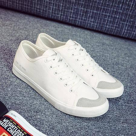 春季新款韩版帆布鞋男潮流平底板鞋经典款系带休闲小白鞋KDNX