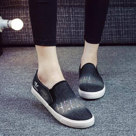 2016春季新款女士帆布鞋牛仔布学生休闲板鞋低帮懒人鞋KDNX