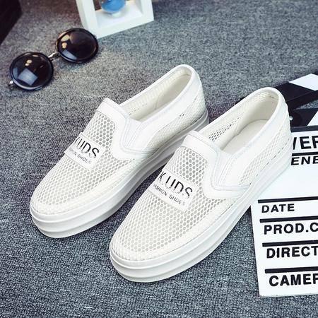 2016夏季镂空帆布鞋女士一脚蹬懒人鞋休闲鞋厚底松糕鞋网鞋KDNX