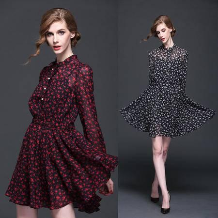 2016春装新款碎花雪纺长袖时尚碎花气质显瘦两件套装连衣裙DJD
