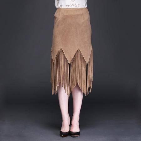 2016春装新款 鹿皮绒材质狂野牛仔风流苏半身裙短裙 女DJD