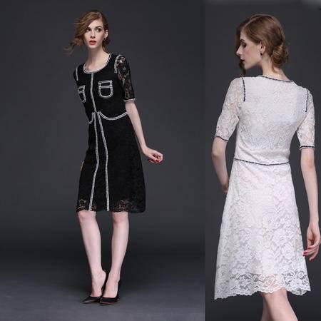 高端欧美风2016新款春装蕾丝包边拼接气质瘦身短袖连衣裙DJD
