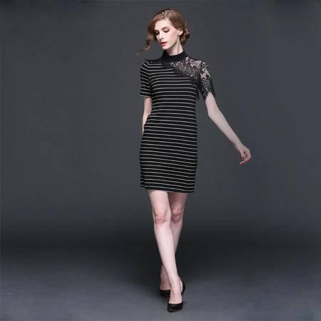 欧美2016春装性感透视蕾丝拼接针织短袖连衣裙短裙子打底裙子DJD