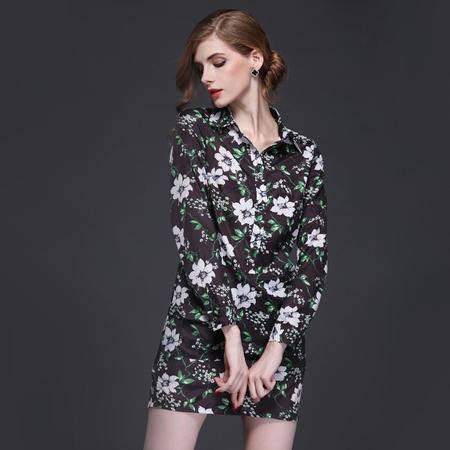 2016春季新款长袖优雅舒适印花长袖短裙连衣裙DJD