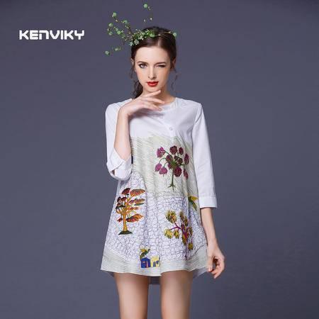 2016春夏新品重工刺绣修身大气宽松带排扣衬衫上衣 女DJD