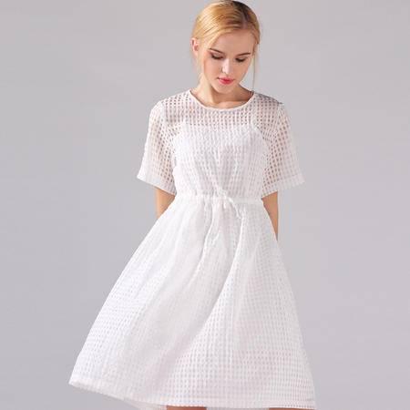 2016春夏新款修身优雅气质A字格子镂空系带两件套连衣裙DJD