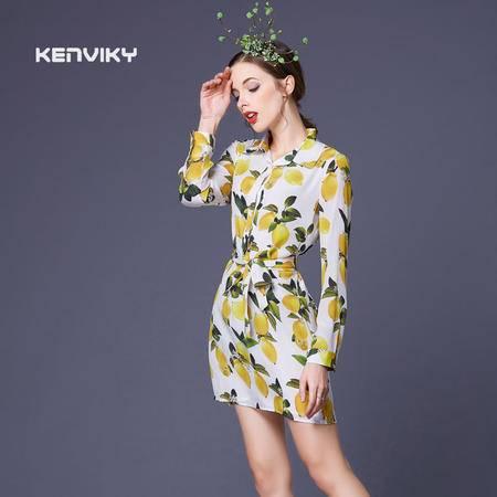 2016春夏新款清新柠檬水果印花高端大牌系带高腰真丝裙DJD