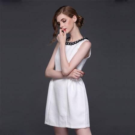 爆款 新款连衣裙 重手工钉珠无袖蓬蓬裙女装DJD