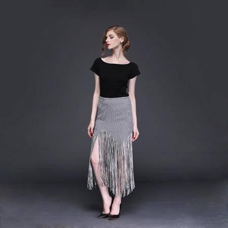 2016春季新款时尚气质针织短毛衫上衣+流苏半裙套装DJD