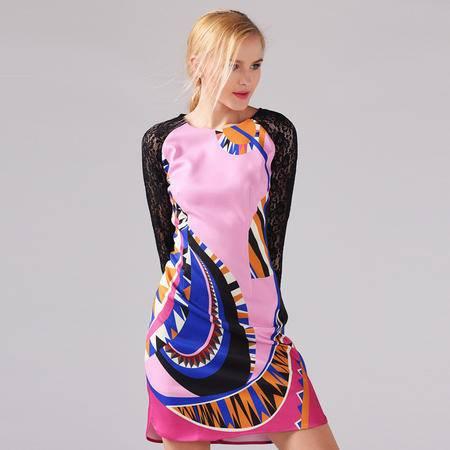 2016春季新款欧美大牌气质修身抽象图案拼接蕾丝连衣裙 女DJD
