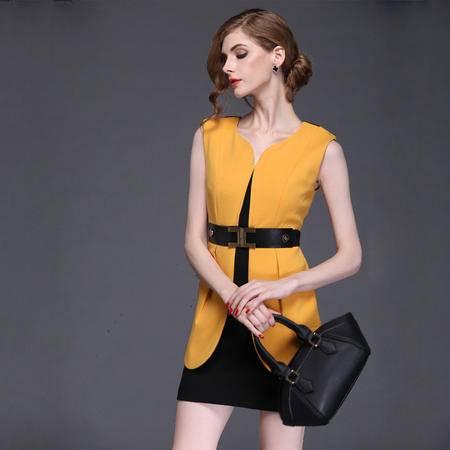 2016早春装新款气质无袖圆领 含羊毛修身短裙连衣裙DJD