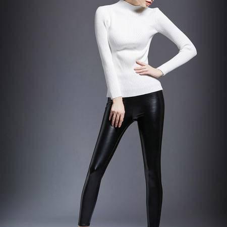 2016早春新款欧美加厚长袖套头修身多色半高圆领羊毛衣DJD