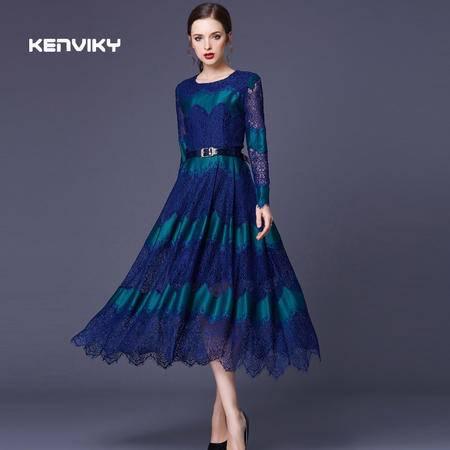 2016春装新款大牌气质蕾丝拼接长袖修身百褶连衣裙女DJD