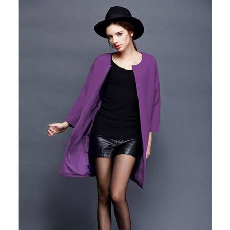 冬季新款女装欧美高端大牌范时尚七分袖风衣羊毛呢外套女DJD