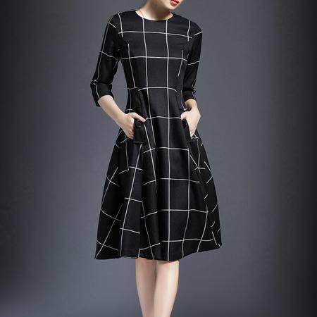2016春季新品气质七分袖格子高腰连衣裙中长修身连衣裙DJD