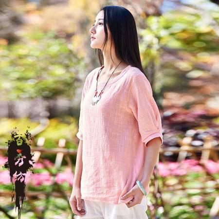 2016春夏棉麻女装新品原创文艺清新竹节麻女式套头半袖T恤衫BXF
