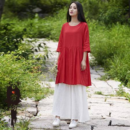 百秀纺2016夏季棉麻女装新品复古女式七分袖连衣裙袍子BXF