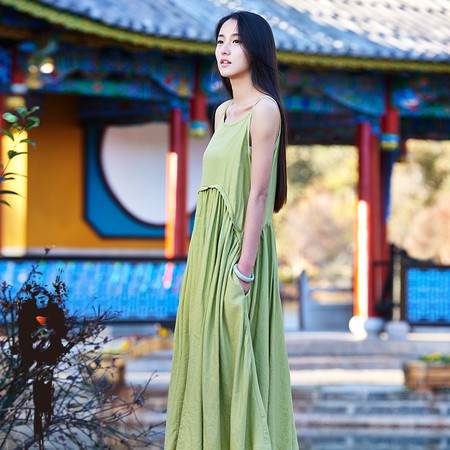 2016春夏棉麻女装新款原创复古清新女式吊带裙连衣裙长裙BXF