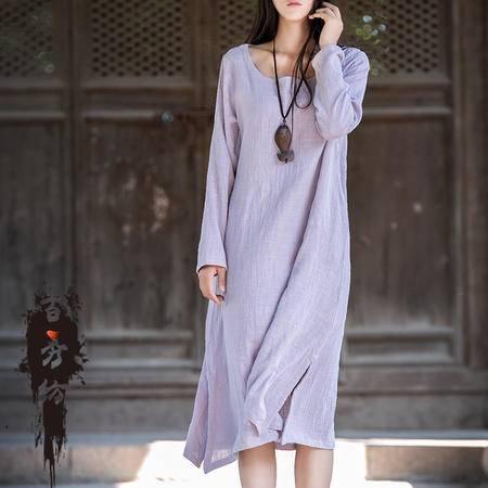 2016春季棉麻女装原创新款复古清新简约女式长袖连衣裙袍子BXF