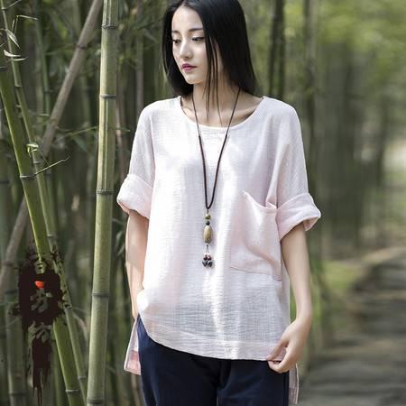 2016夏季棉麻女装新品简约复古女式七分袖套头衫T恤衫BXF