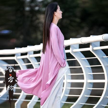 2016春季百秀纺棉麻女装新品复古简约百搭长袖女式外套BXF