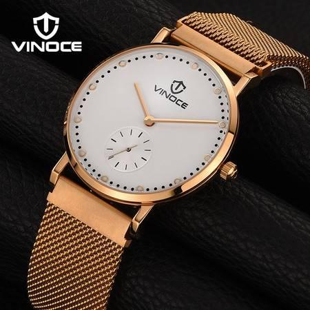 威诺时超薄手表男防水石英表男表简约休闲钢带男士手表WNS