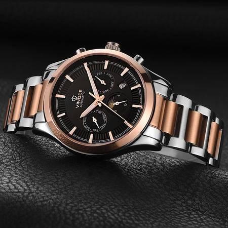 威诺时男表精钢商务手表男机械表防水钢带男士手表WNS