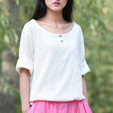 2016夏季女装新款百秀纺复古简约百搭女式T恤配半身裙上衣BXF